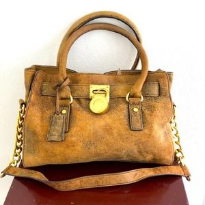 Michael Kors Hamilton Satchel Tan Pebbled Suede